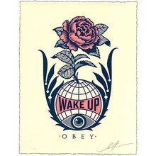 """Obey Giant """"Wake Up"""" Signed Letterpress"""