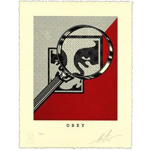 """Obey Giant """"Magnifying Glass - Red"""" Signed Letterpress"""